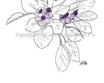 Digital Download: Violet, Floral Art Print, Minimalist Art, Printable Violet, Watercolor Floral, Printable Floral Card, Invite, Thank you