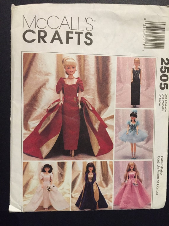 """McCall's Sewing Pattern 90s 11 1/2"""" Fashion Doll Clothes"""