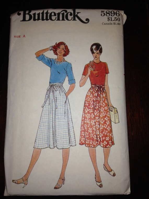 Butterick 5896 Sewing Pattern 70s Misses Skirt Size Petite, S, M