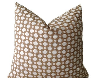 Schumacher Betwixt in Biscuit Pillow, Taupe Designer Pillow, Geometric Pillows Decorative Pillow Covers, Lumbar, Toss Pillow