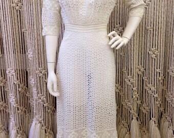 Beautiful Edwardian antique early 1900s white eyelet lace full length dress
