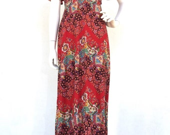 70s Red Paisley Maxi Faux Wrap Dress