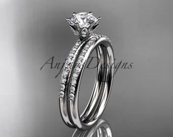 platinum diamond unique engagement set, wedding ring ADER145S