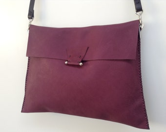 One off large burgundy purple soft leather cowhide flap crossbody bag with black strap and silver hardware