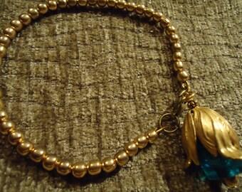 Boho Gypsy Gold Piercing Blue Tulip Pendant Bracelet