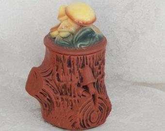 Vintage McCoy Cookie Jar - Tree with Mushrooms Brown – Collectible 1960s
