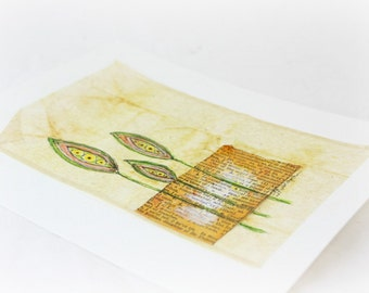 Original Pen and Ink with Watercolor of a Pods on a Tea Bag, OOAK