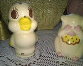 2 Adorable Little Ceramic Antique Banks Chick & Pig