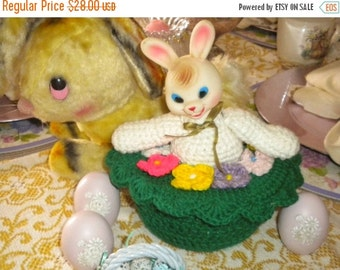 SUMMER SALE Vintage Rubber Head and Knit Bunny Storage Container, Vintage Easter Decor, Eclectic Easter