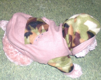 Dog Hoodie, Camo and Tan Dog Hoodie, Hood For Extra Warmth,