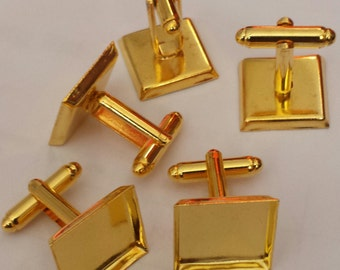 Combo- 24 pc - Square Gold platted culflink(12pcs)-  Bezel cufflink Blank with glass insert(12pc)-  Cadmium free