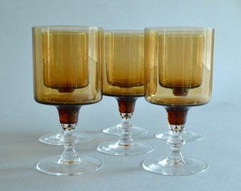 Amber Stemware Amber Drinking Glasses Amber Drinkware Amber Water Glasses Brown Stemware Set of Amber Glasses