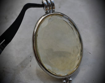 Silver Plated Oval Faceted Locket Pendant