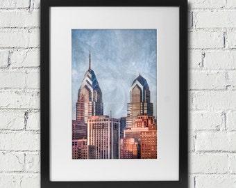 Philadelphia Art: Skyline Skyscraper Photograph With Rough Textures Added