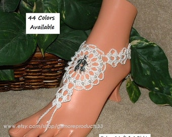 White Bridal Sandals Women Beach Anklet Foot Jewelry Footless Shoes Wedding Barefoot Thong Lace Barefoot Sandals Boho Barefoot Sandals