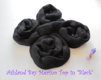 Black Merino Top from Ashland Bay - 2 oz of 21.5 Micron Combed Top for Spinning or Felting in Black Merino Top/Merino Roving