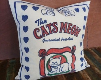 Cat Pillow Cover - Kitty Pillow Cover - Cats Meow - Cat Lover Gift  - Rustic Style - 18""