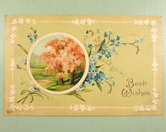 Best Wishes Floral Postcard - Vintage Cancelled Stamp Embossed