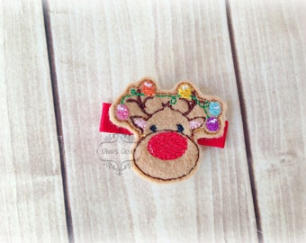 Reindeer hair clips Christmas Lights Hair Clippie Pick one or two. Pick Left side or Right.
