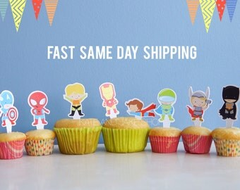 Set of 24 Superhero cupcake toppers double sided superhero themed party topper