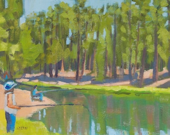 Fishing the Deschutes River July 4th at Bull Bend Campground Original Painting