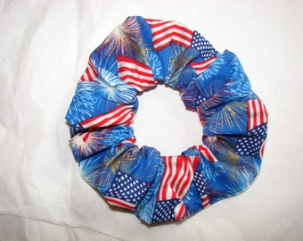 American flags fireworks patriotic fabric Hair Scrunchie, women's accessories, USA scrunchies, red white blue, Americans, United States