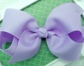 "Lavender Bow Headband Lavender Baby Bow Headband Lavender Newborn Headband Medium 4"" Bow Headband Lavender Headband Lavender Elastic"