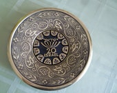 """Judaica vintage 7-1/2"""" brass 20th Anniversary of State of Israel wall hanging 1968"""