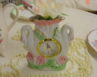 Swan Tabletop Clock Painted Vintage Cottage Chic