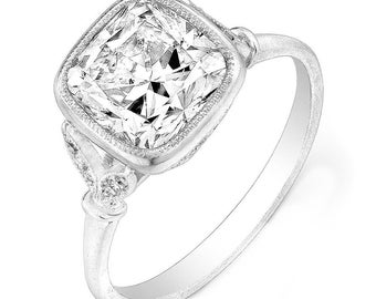 GIA Certified 2.20 ctw Cushion & Round Diamond Engagement Ring in Platinum