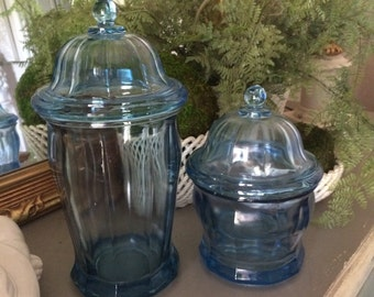 Vintage Indiana Glass Apothecary Jar Blue Indiana Glass Canister Blue Glass Jars Set of Two