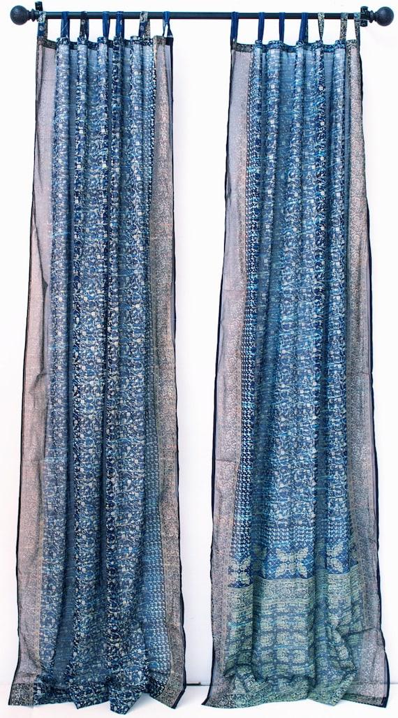 BLUE TURQUOISE Tie Dye Boho Window Treatment Indian Sari