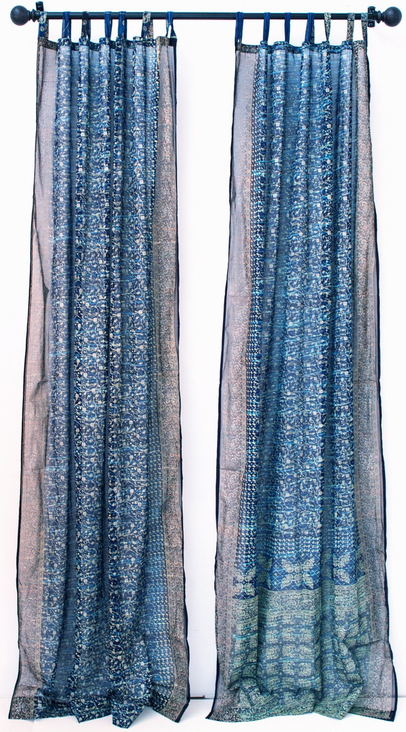 Blue Turquoise Tie Dye Boho Window Treatment Indian Sari