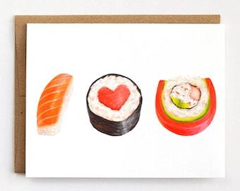 Sushi Love Card, Anniversary Card, Blank Card,