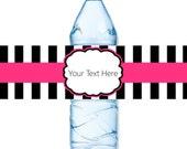 INSTANT DOWNLOAD - Hot Pink Black Stripe Water Bottle Label Birthday Baby Bridal Wedding Shower - You Print