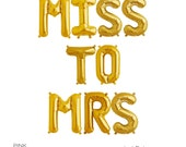 "MISS TO MRS Gold Mylar Balloons 16"" Inches"
