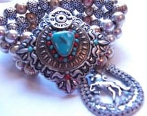 Western Cowgirl Rodeo Queen SIlver Gold Turquoise Horse Bullet Shotgun Shell Cuff Charm Bracelet