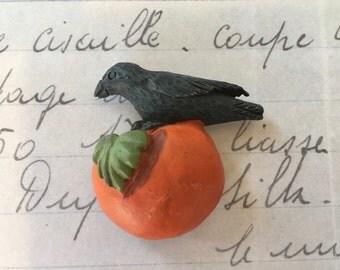 Cute Little Crow Perched on Pumpkin Refrigerator Magnet