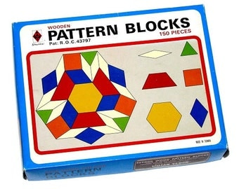 Vintage 90s LILLIAN VERNON Colorful Wooden Pattern Blocks Set