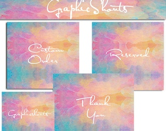 Multicolor Banner - Etsy  Banner Set  - Banners and Avatars - Colorful Watercolor  - Retro Modern Banner   - Blog Banner cover banner