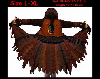 eLf cOAT. size L, size XL, elf sweater, brown sweater, hoodie. pixie. fairy. costume. gypsy. patchwork coat. Recycled dress. ooak