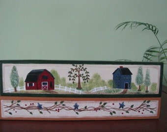 Saltbox house, barn, blocks, shelf sitter, home decor, wood, handpainted,house, saltbox