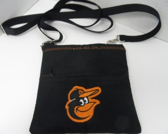 Orioles Cross Body Bag - City Purse - NHL Purse - NFL Purse - MLB Purse - Baltimore Orioles - Zippered Pouch - Travel Bag - Zippered Wallet
