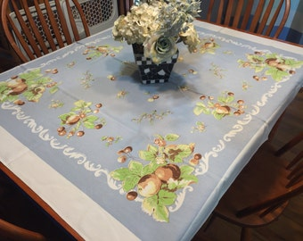 Vintage White and Blue printed floral Kitchen Dining Luncheon Table Cloth for housewares, home decor, linens by MarlenesAttic