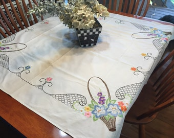 Vintage White Floral Embroidered Kitchen Dining Luncheon Tablecloth by MarlenesAttic