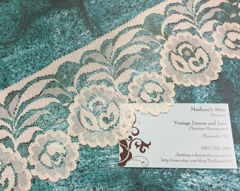 1 yard of 3 1/2 inch Ivory Chantilly lace trim for wedding, veils, bridal, shabby chic, housewares, couture by MarlenesAttic - Item 3Z