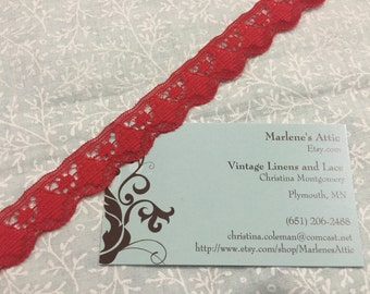 1 yard of 3/4 inch Red Chantilly lace trim for bridal, baby, valentines, christmas, wedding, altered couture  by MarlenesAttic - Item 7DD