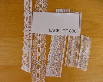 50 Yards Narrow Flat Lace Scalloped Edge,  5 Patterns, Shades of White, Unused, Sewing Notions, Trims, Doll Clothes, Embellishments Lot 800