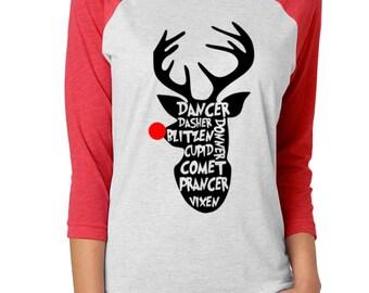 Christmas Shirt | Reindeer Shirt | Christmas T-Shirt | Christmas Tee | Reindeer Tee | Christmas Raglan | Rudolph Shirt | Reindeer Gifts