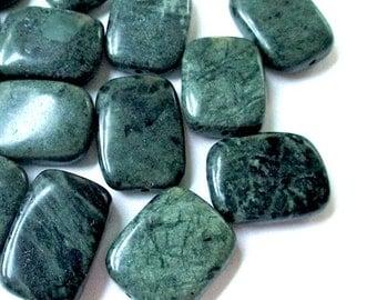 5 Dark Green Beads. Large Jasper Gemstones. 20mm - 22mm x 16mm Rectangle Stones. Deep Forest Green Woodland Palette. Mottled Color  5 Pieces